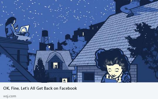 Ok, Fine Let's All Get Back on Facebook